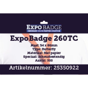 Diamondlabels ExpoBadge 260TC 54x86mm (creditcard formaat). Mat scheurbestendig papier, voor de  Epson Colorworks TM-C3500 badgeprint