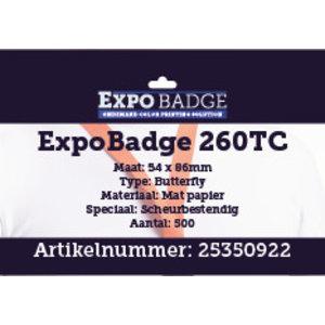 Diamondlabels ExpoBadge 260TC 54x86mm (creditcard formaat). Mat scheurbestendig papier, voor de  Epson Colorworks TM-C3500 badgeprint