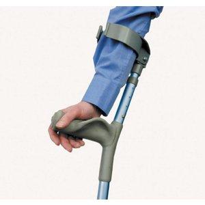 De onderarmkrukken met extra steun aan de handpalm