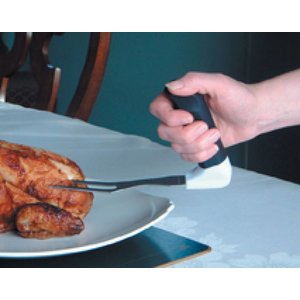 Deze variatie van Easy-Grip keukengerei heeft comfortabel gevormde anti-sliphandvaten met zachte afwerking die voor een stevige grip zorgen. De hoek van het handvat is 90 C om de hand en pols in een natuurlijke positie te houden. Alle hulpmiddelen zijn li