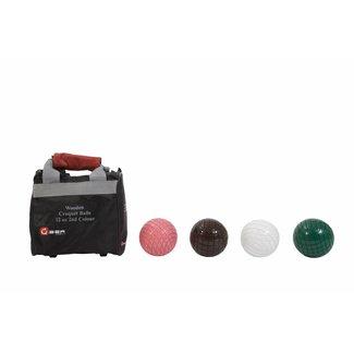 Ubergames 4 houten Croquet ballen, 355 gr, netjes in tasje