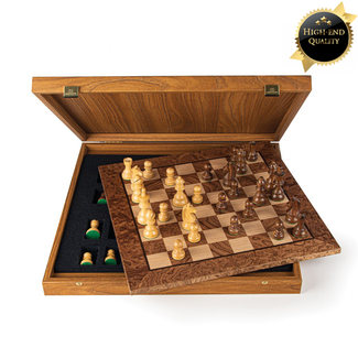 Ubergames Schaakspel Walnoot Burl- Bordmaat 34x34cm - Staunton schaakstukken - Ultraluxe - Weighted