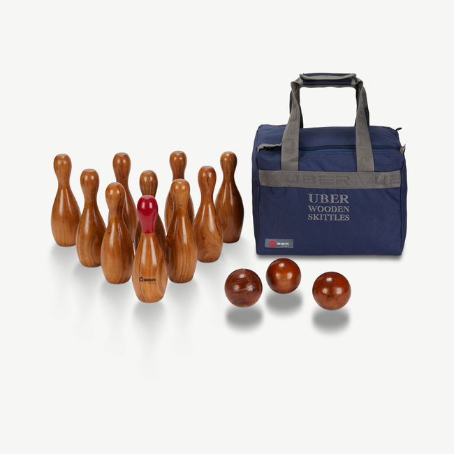 Ubergames Uber Bowling Skittles Set - Eco Hardhout - in luxe draagtas
