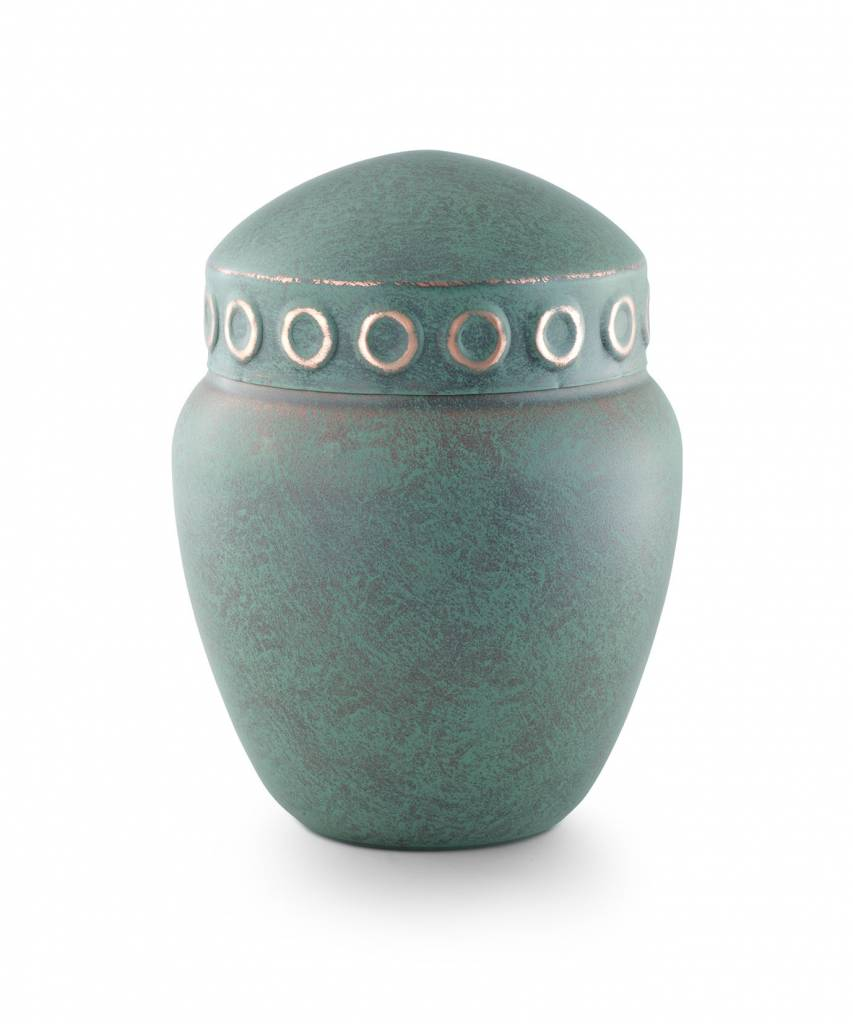 Keltische urn koper patina rond - koper