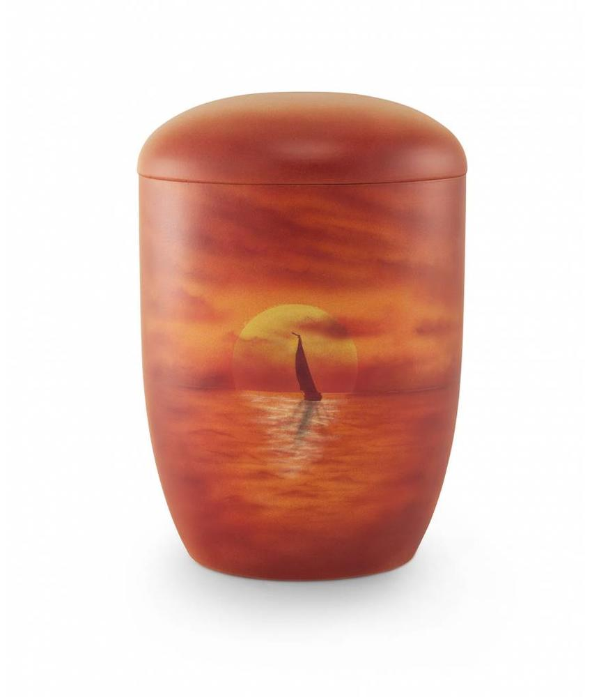Zee urn zeilboot in zonsondergang - bio