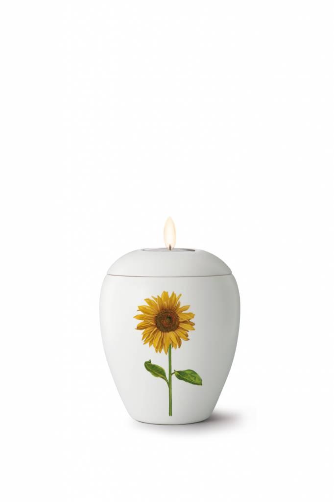 Mini bianco zonnebloem urn met lichtje - Keramiek