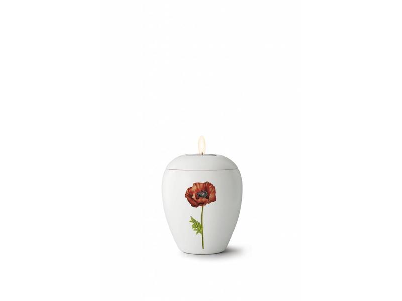 Mini bianco klaproos urn met lichtje - keramiek