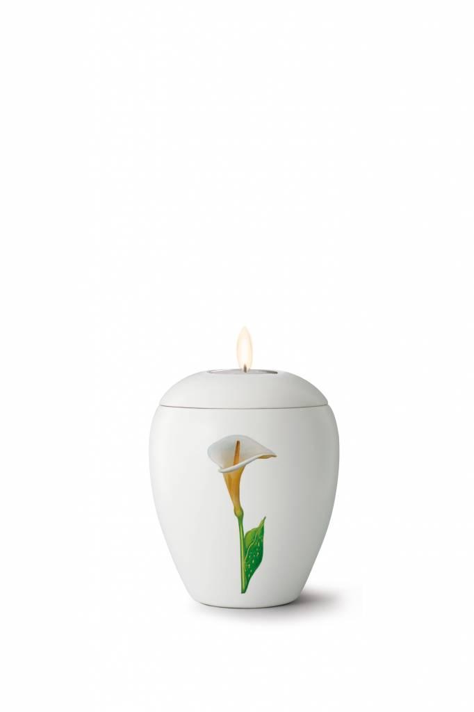 Mini bianco calla urn met lichtje - Keramiek