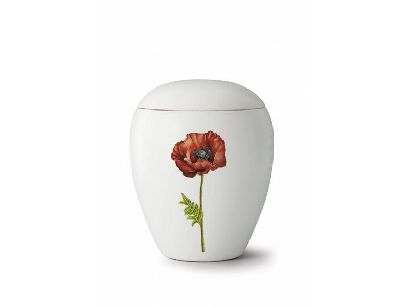 Bianco klaproos urn - Keramiek