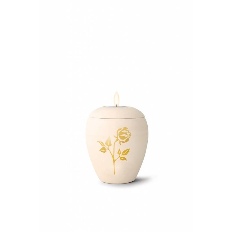 Mini siena roos urn met lichtje - Keramiek