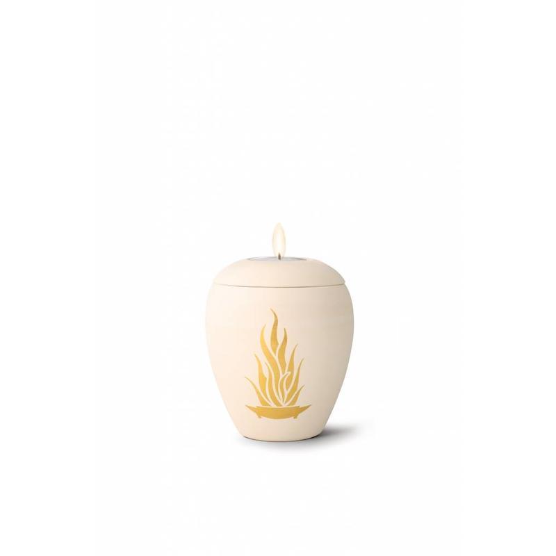 Mini siena vlammen urn met lichtje - Keramiek