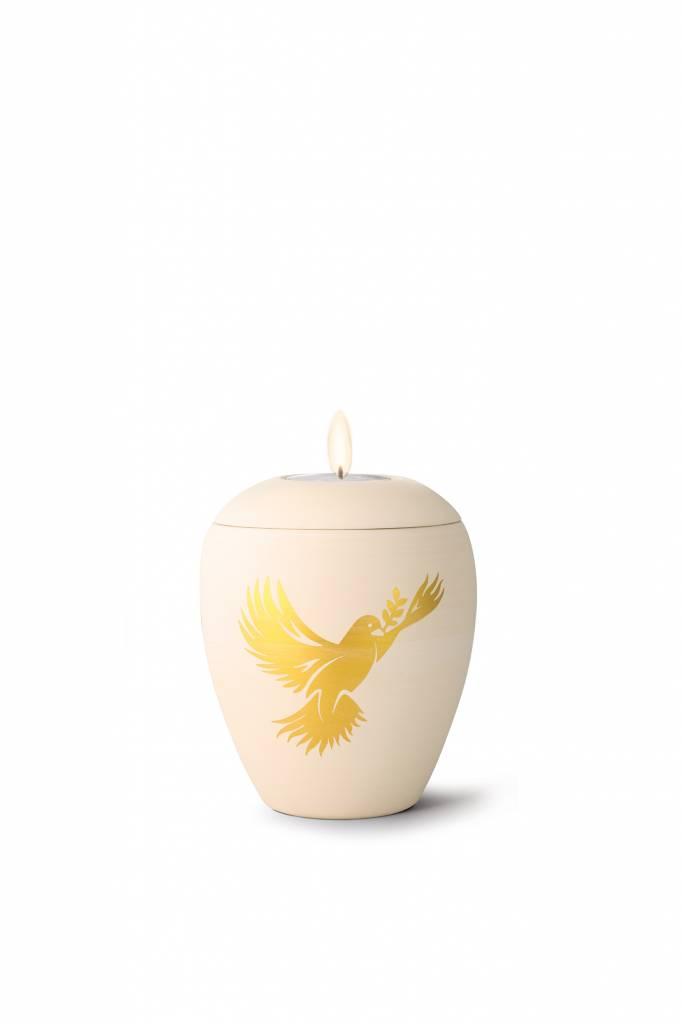 Mini siena vredesduif urn met lichtje - keramiek