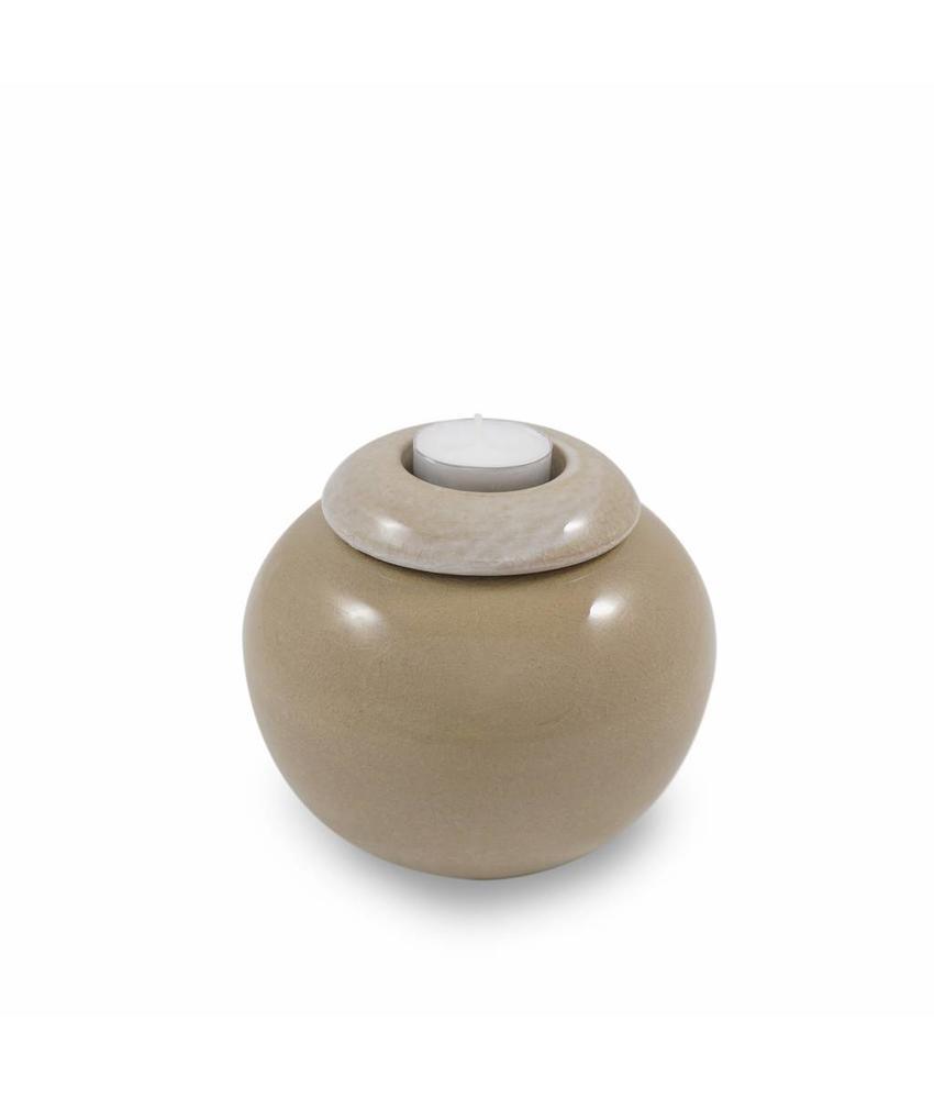 Keramische urn bol klein met kaarsje creme craquele