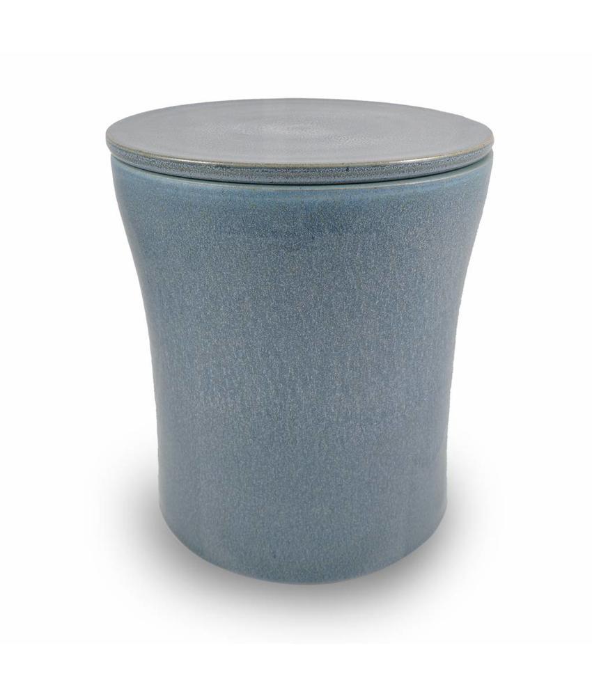 Keramische urn getailleerd groot zoutblauw