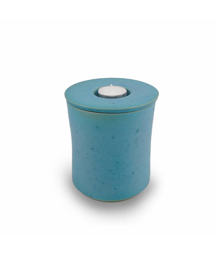 Keramische urn getailleerd klein met kaarsje turquoise