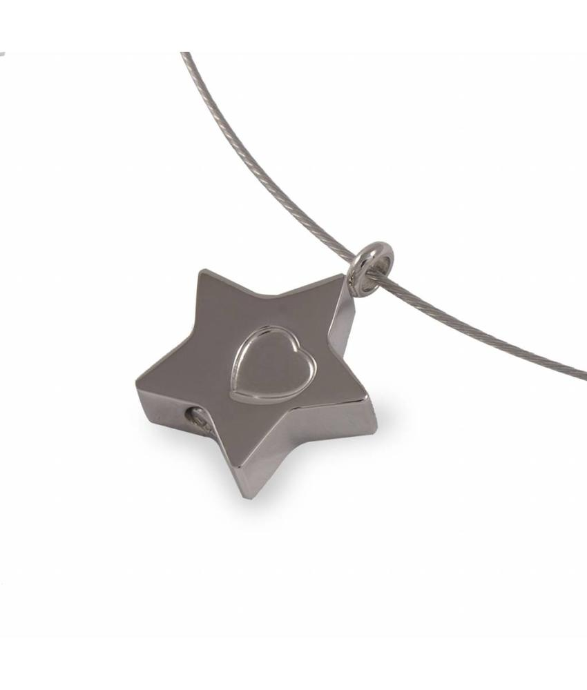Ashanger ster met hartje - RVS