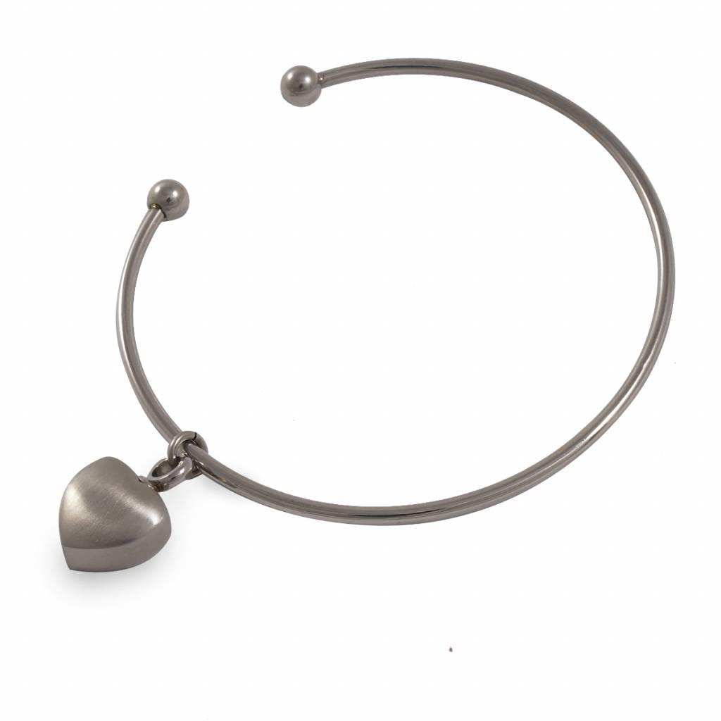 As armband met hartbedeltje - RVS