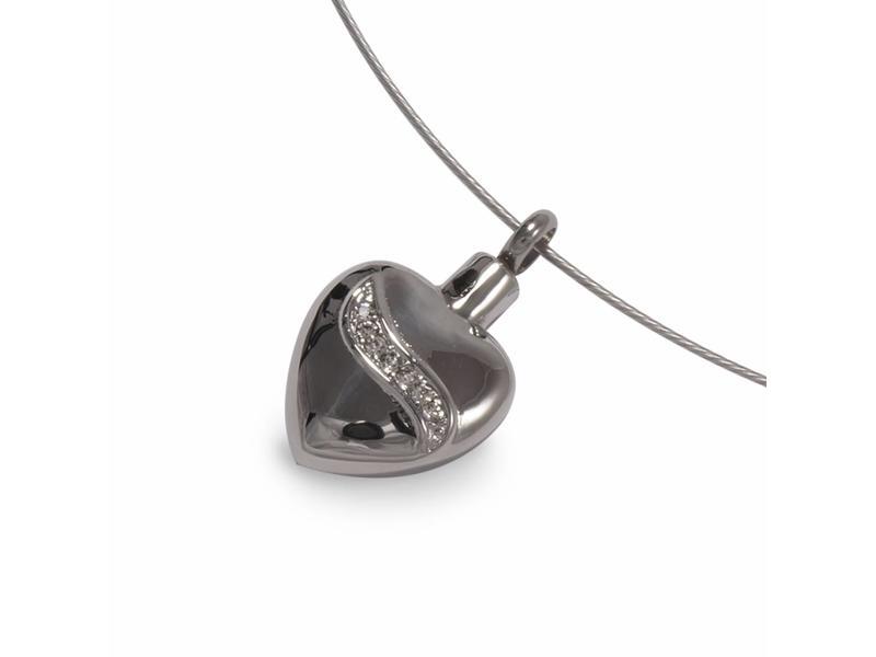Ashanger zilverkleurig hart met Kristal inleg - RVS