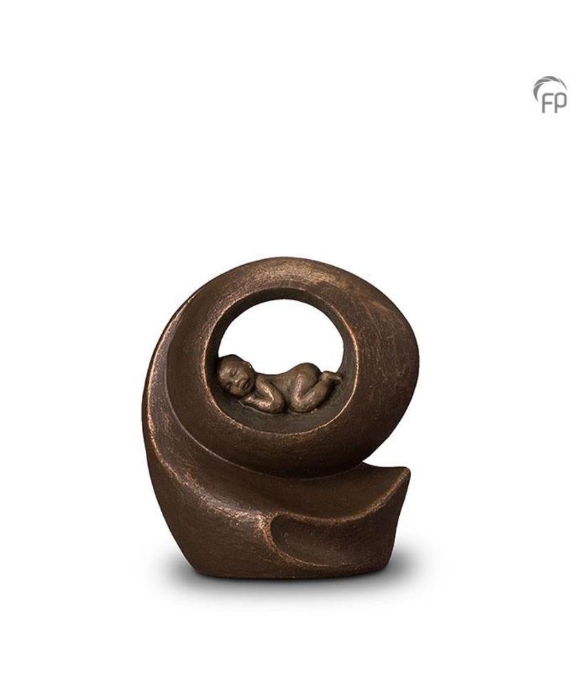 Baby urn geborgen rond - keramiek