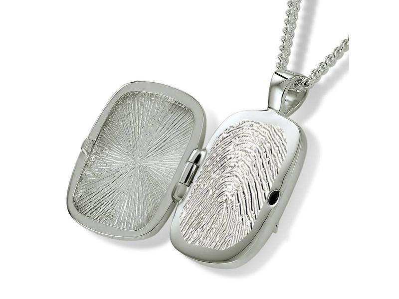 Ashanger klassiek medallion met vingerafdruk - 925 Zilver