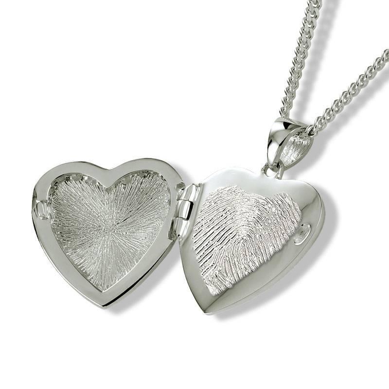 Ashanger wolken hart medaillon met vingerafdruk - 925 Zilver