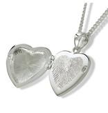 Ashanger hart medallion met vingerafdruk - 925 Zilver