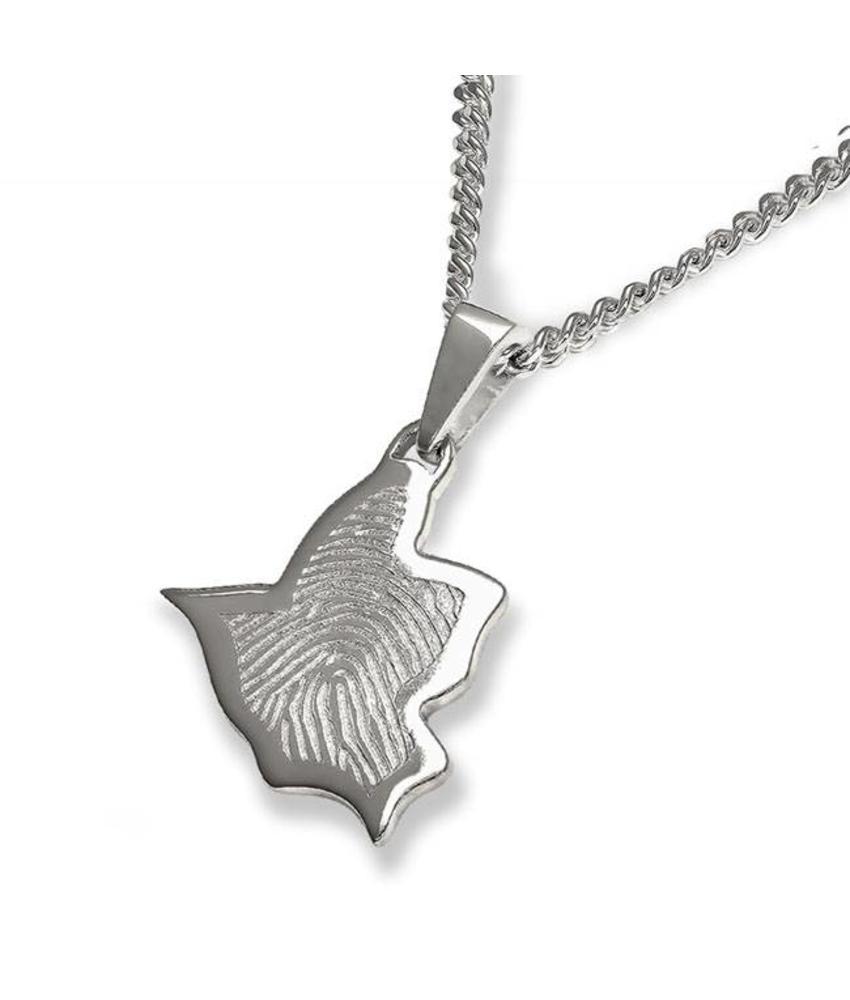 Vingerafdruk vogel mat groot - 925 Zilver