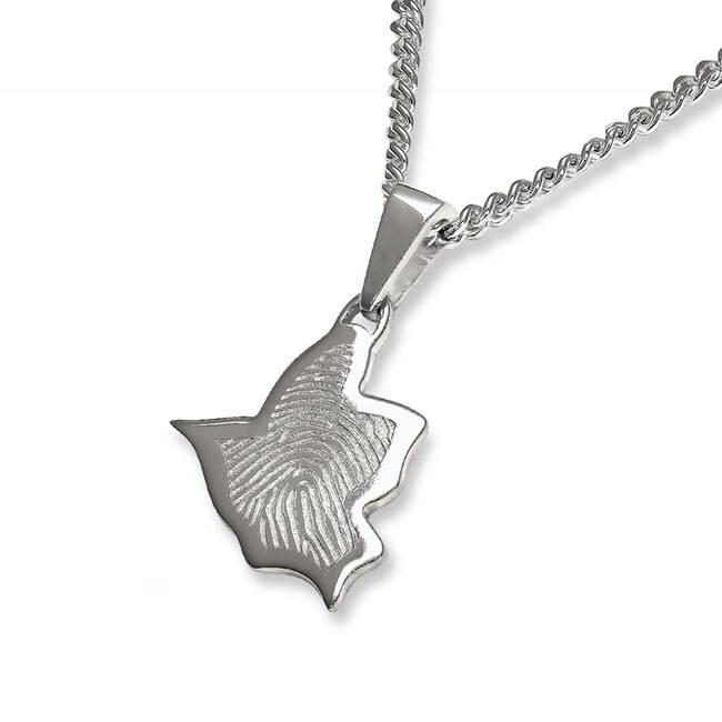 Vingerafdruk vogel mat medium - 925 Zilver