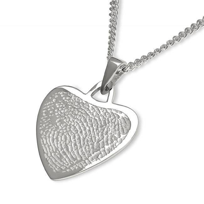 Vingerafdruk hart mat groot - 925 Zilver
