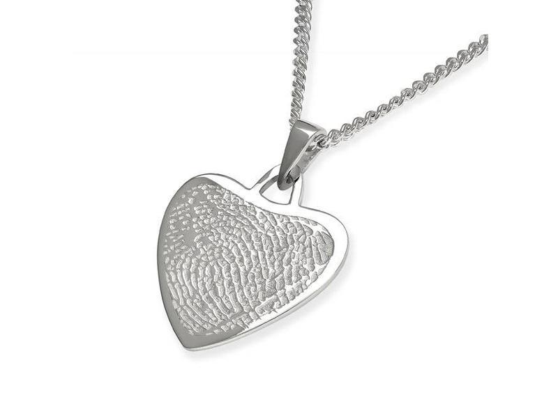 Vingerafdruk hart mat medium - 925 Zilver