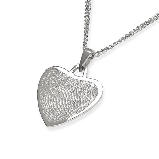Vingerafdruk hart mat - 925 Zilver