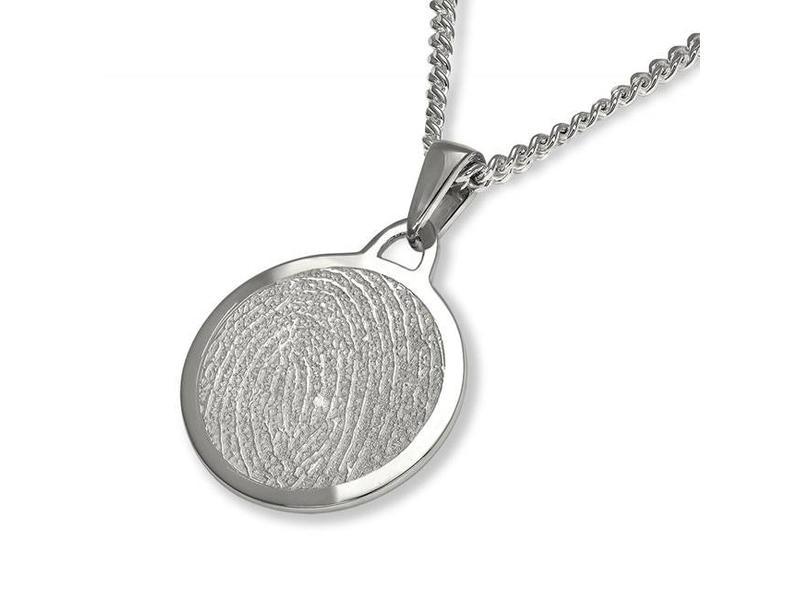 Vingerafdruk hanger circle mat groot - 925 Zilver
