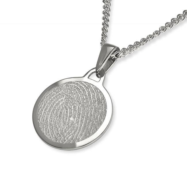 Vingerafdruk hanger circle mat medium - 925 Zilver