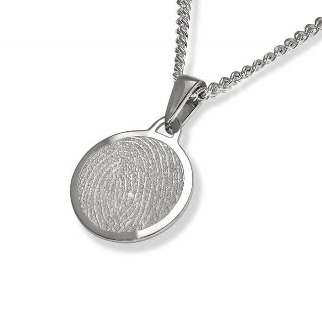 Vingerafdruk hanger circle mat - 925 Zilver