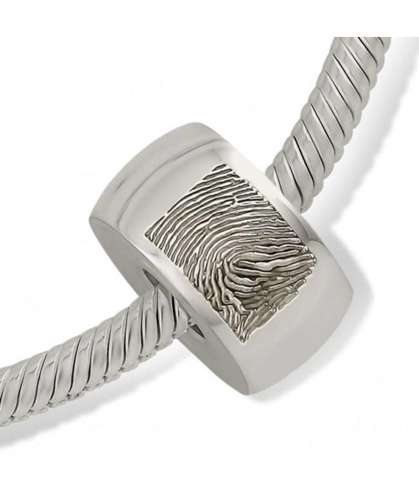 Asbedel rond radiaal met vingerafdruk - 925 Zilver