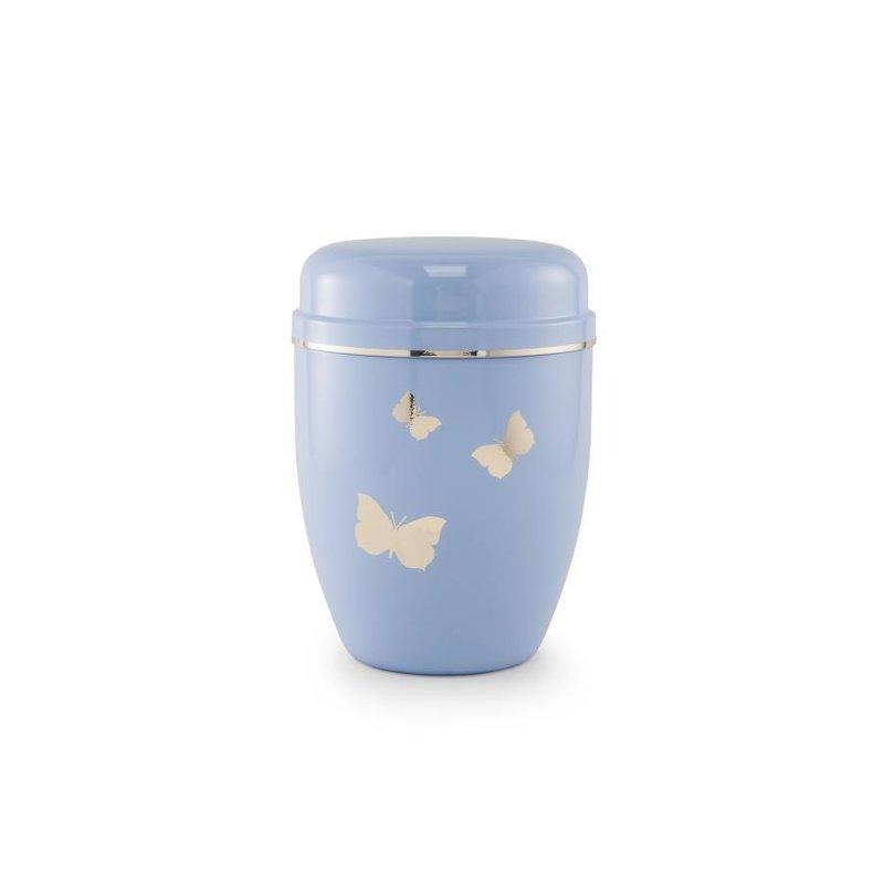 Kinder urn vlinders blauw - staal