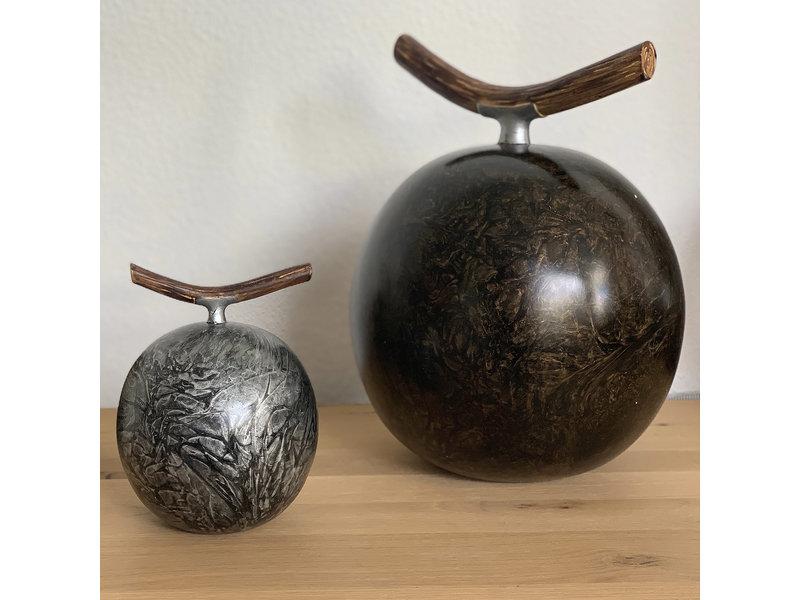 Fruitful urn metallic groot - polyresin