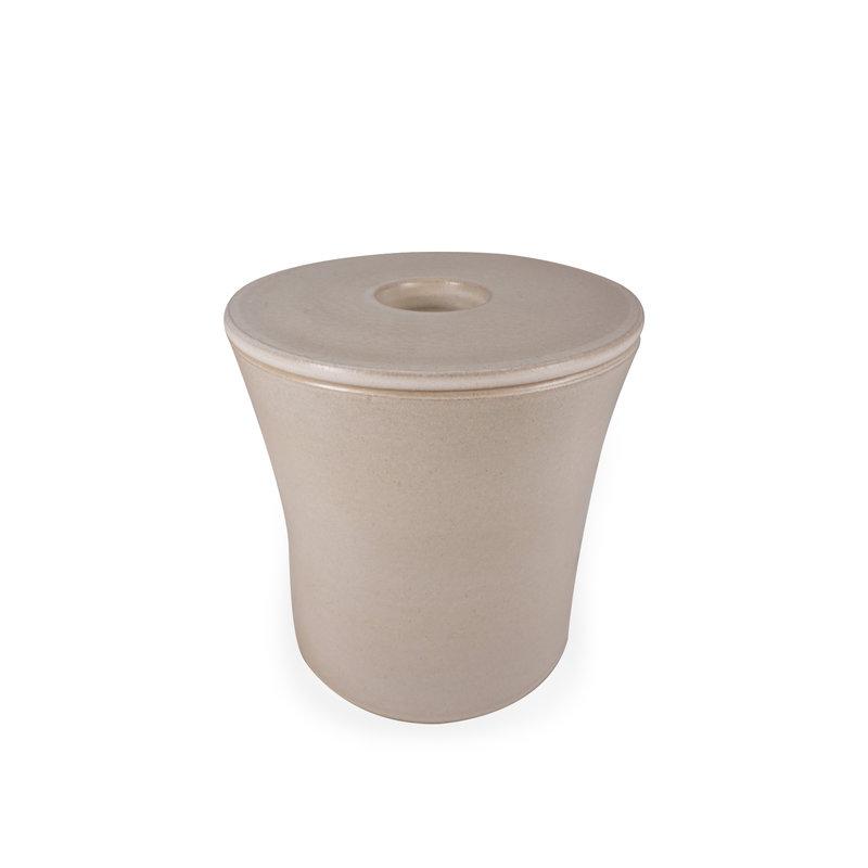 SALE - Keramische urn getailleerd medium met kaarsje - wit