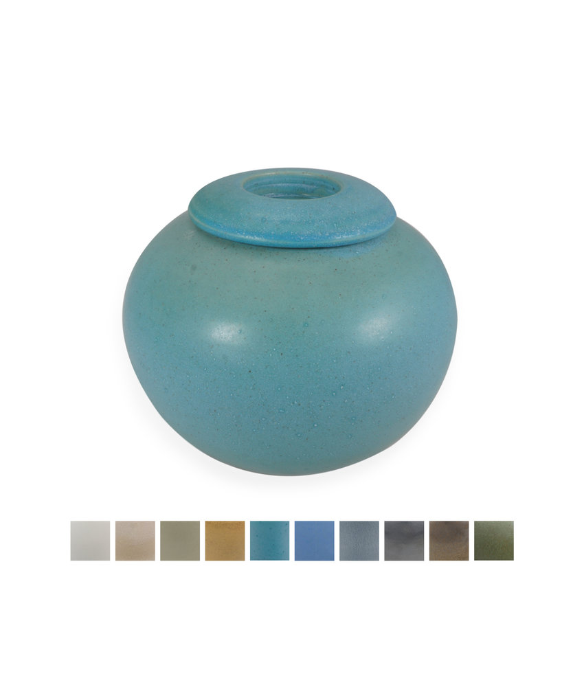 Keramische urn bol medium met kaarsje - verkrijgbaar in 10 kleuren