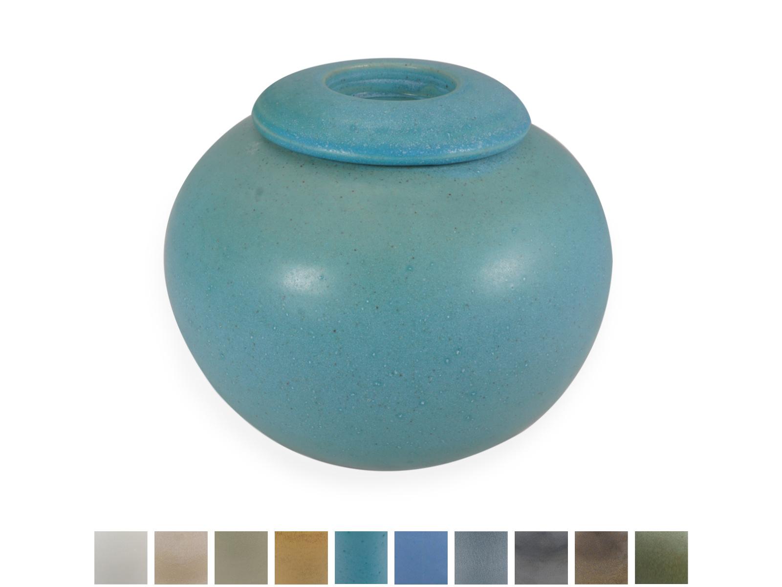 Keramische urn bol medium met kaarsje- verkrijgbaar in 10 kleuren