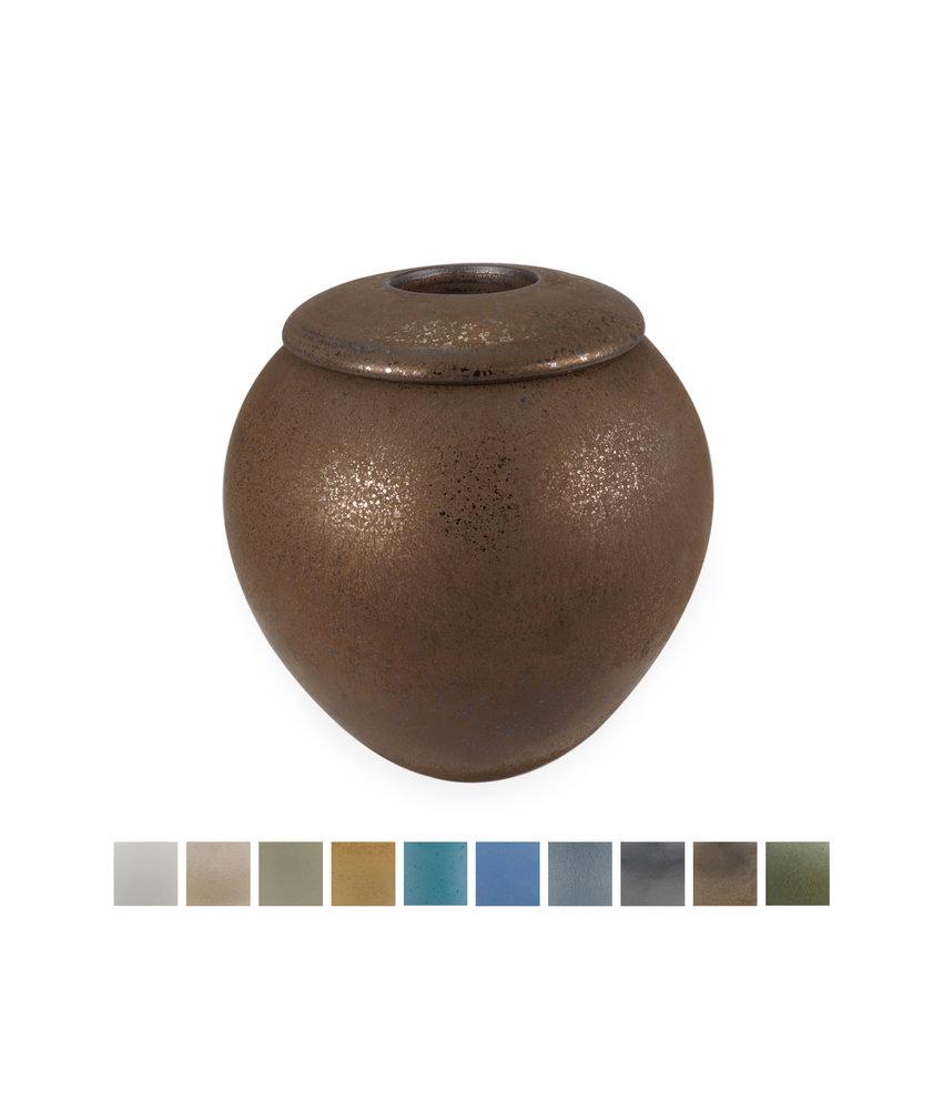 Keramische urn elegant medium met kaarsje - verkrijgbaar in 10 kleuren