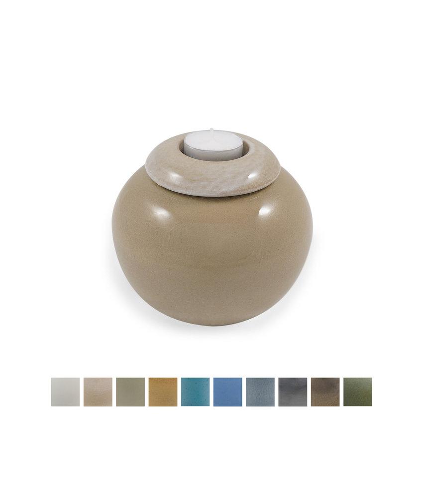 Keramische urn bol klein met kaarsje - verkrijgbaar in 10 kleuren