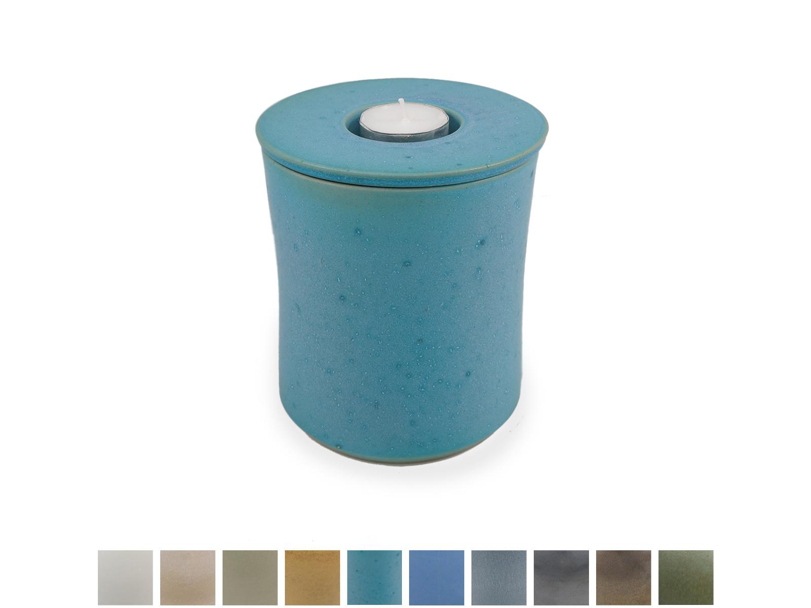 Keramische urn getailleerd klein met kaarsje - verkrijgbaar in 10 kleuren