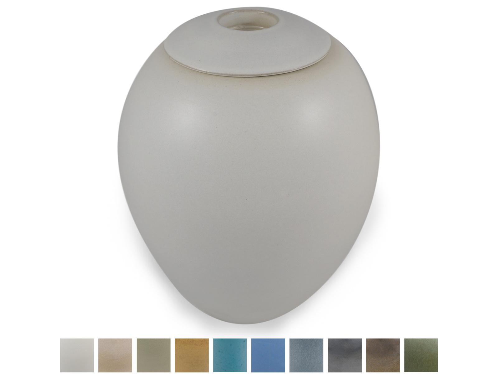 Keramische urn elegant groot met kaarsje - verkrijgbaar in 10 kleuren