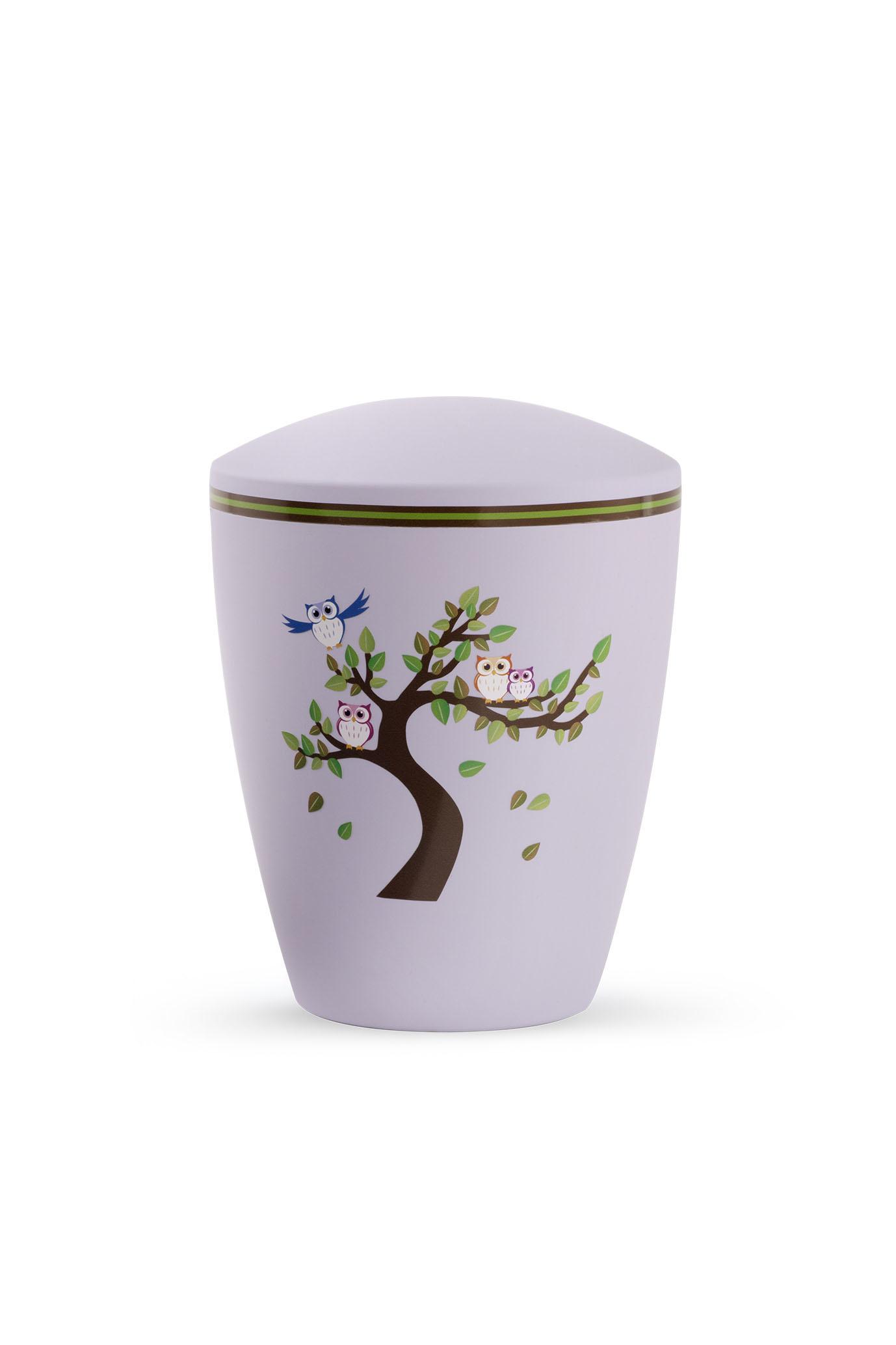 Kinder urn boom met uilen lila - bio