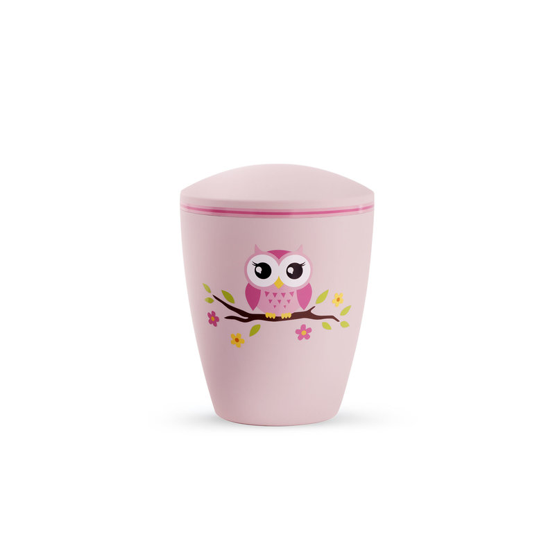 Kinder urn uil op tak roze - bio