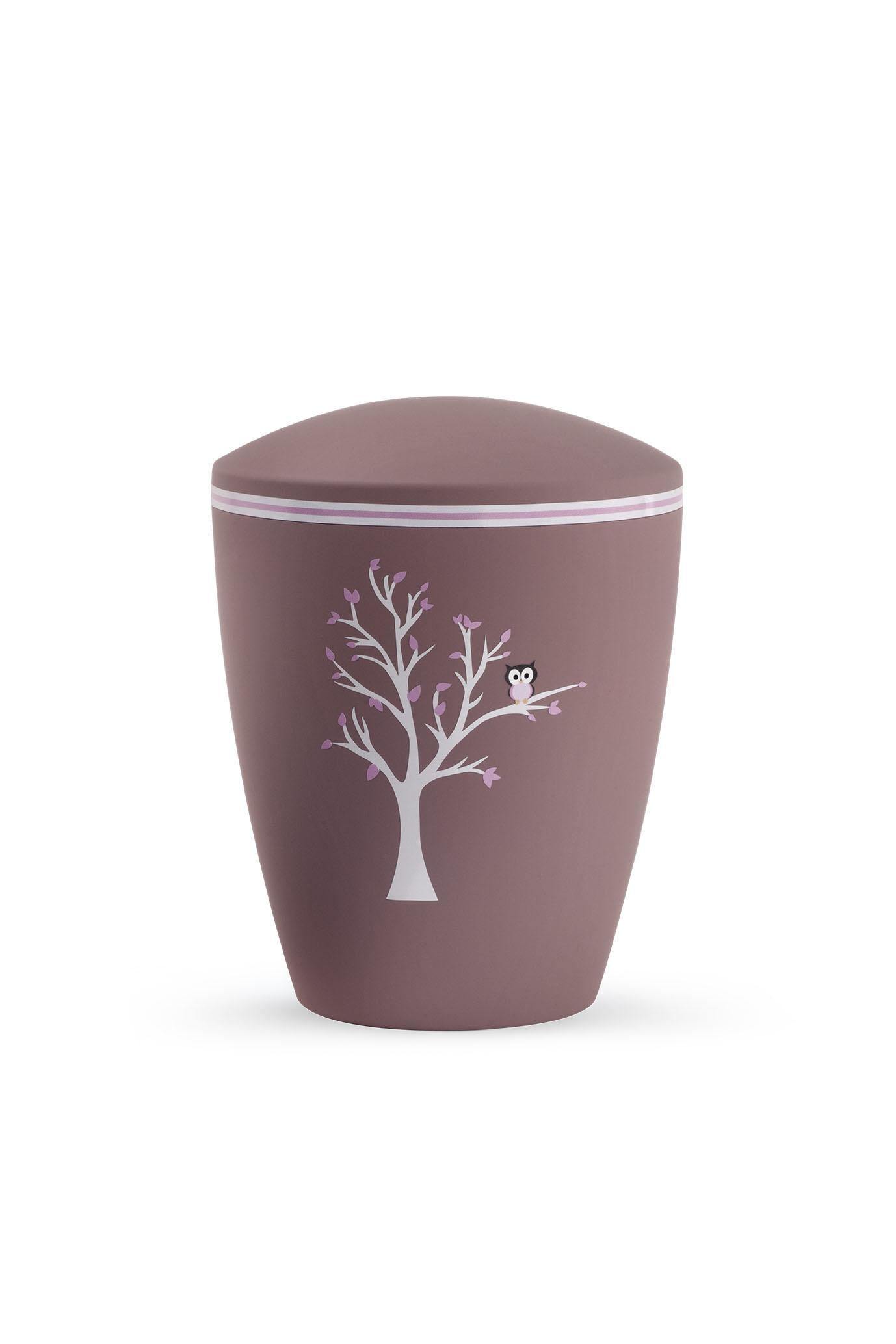 Kinder urn uiltje in boom oud roze - bio