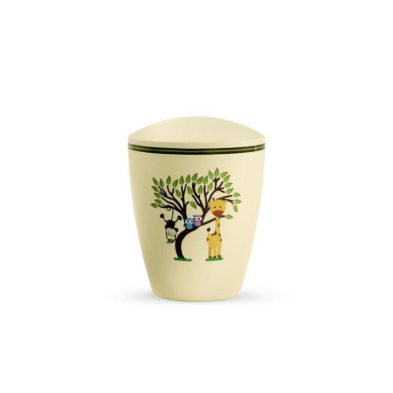 Kinder urn boom met dieren geel - bio