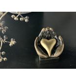 Mini urn asbeeldje hart in hand - brons