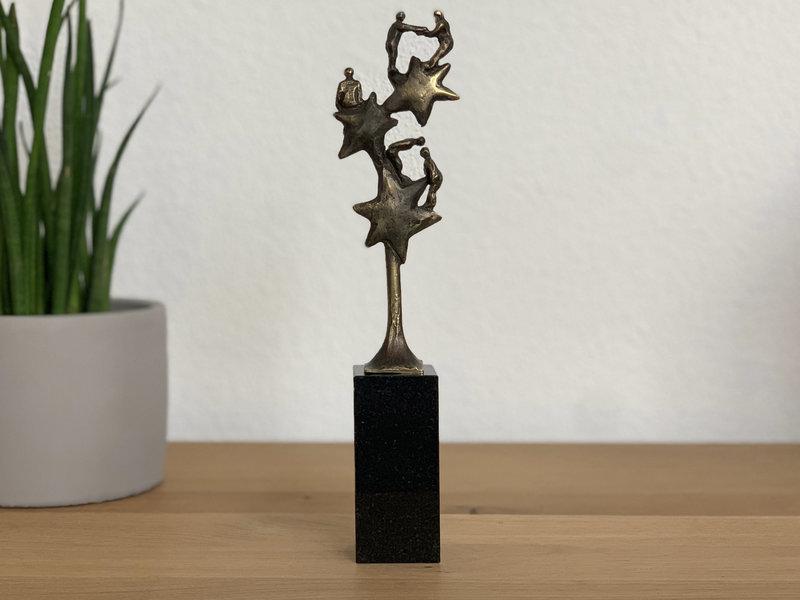 Mini urn asbeeldje sterren - brons